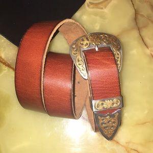 Western Gold and Silver Buckle Belt (Men/Women)